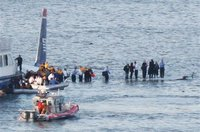 Plane crash on the Hudson - passengers standing on the wings