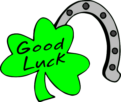 "Green Shamrock with ""good luck"" and a lucky horsehoe"